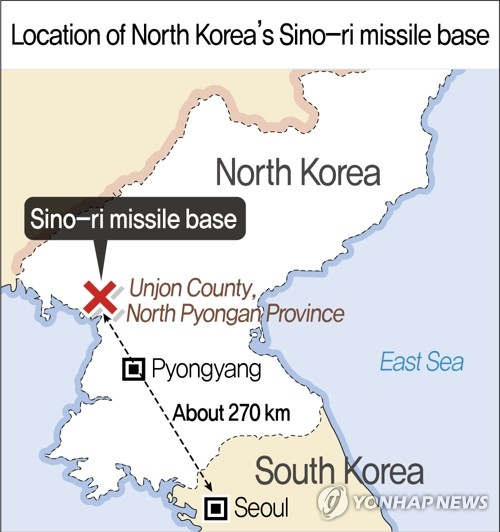 Location of North Korea's Sino-ri missile base