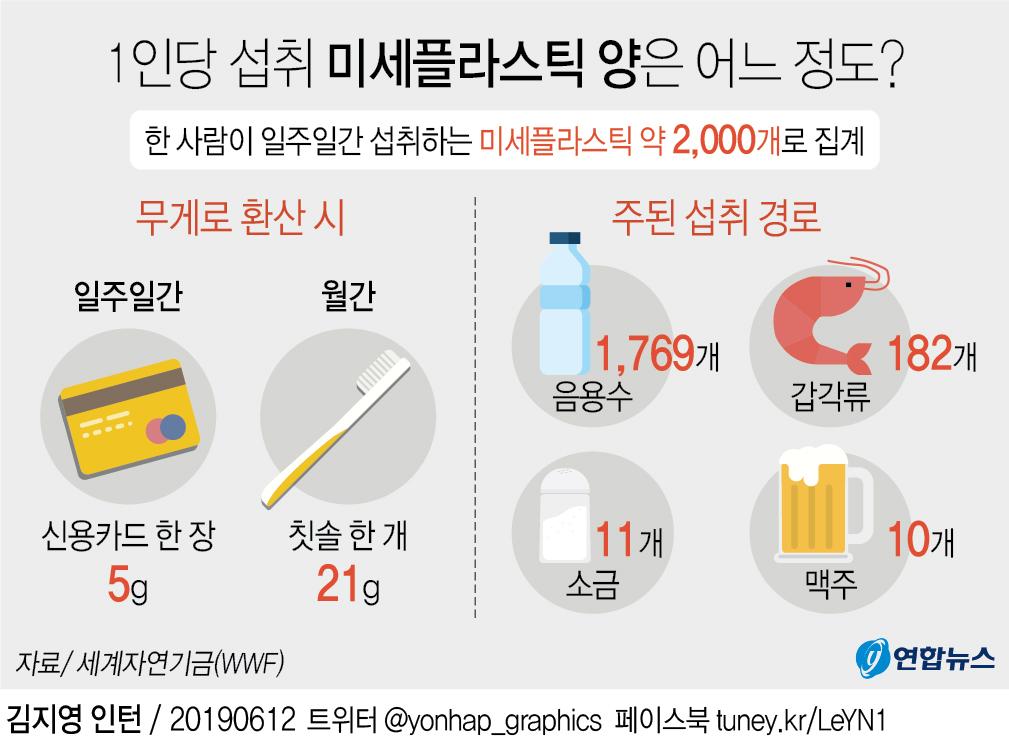 [그래픽] 1인당 섭취 미세플라스틱 양은 어느 정도?