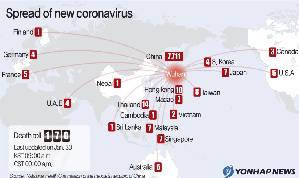 Spread of new coronavirus
