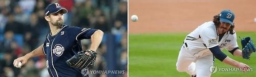 Dustin Nippert of the Doosan Bears (L) and Zach Stewart of the NC Dinos will start Game 1 of the Korean Series to be held at Jamsil Stadium in Seoul on Oct. 29, 2016. (Yonhap)
