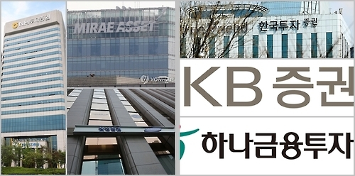 This composite file photo shows buildings and corporate logos of South Korea's brokerage firms. (Yonhap)