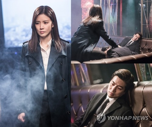 "This composite photo captured from SBS TV's legal thriller ""Whisper"" shows highlights from the show's fourth episode. (Yonhap)"