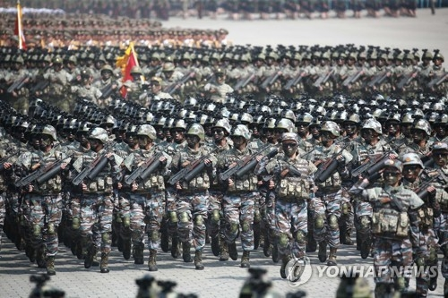 This photo, unveiled by the North Korean Central News Agency on April 16, 2017, shows a military parade held a day earlier in Pyongyang to mark the 105th birthday of late state founder Kim Il-sung. (For Use Only in the Republic of Korea. No Redistribution) (Yonhap)