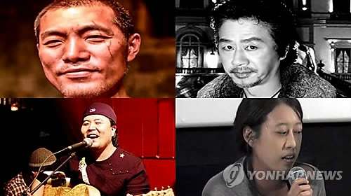South Korean artists who recently died after suffering economic hardship. (Yonhap file photos)