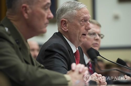 In this AFP photo, U.S. Secretary of Defense Jim Mattis speaks at a hearing of the House Armed Services Committee in Washington on June 12, 2017. (Yonhap)