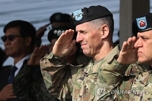 This file photo shows Lt. Gen. Thomas S. Vandal (2nd from R), commander of the U.S. Eighth Army, saluting during a Transfer of Authority ceremony held at Camp Casey in Dongducheon, Gyeonggi Province. (Yonhap)