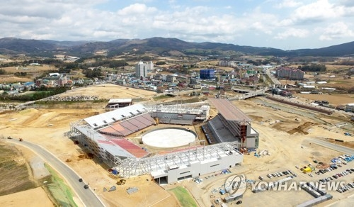 This file photo, taken April 26, 2017, shows PyeongChang Olympic Stadium, the venue for the 2018 PyeongChang Winter Olympic opening and closing ceremonies, in PyeongChang, Gangwon Province. (Yonhap)