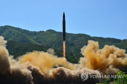 North Korea fires a ballistic missile in this file photo. (KCNA-Yonhap) [For Use Only in the Republic of Korea. No Redistribution]