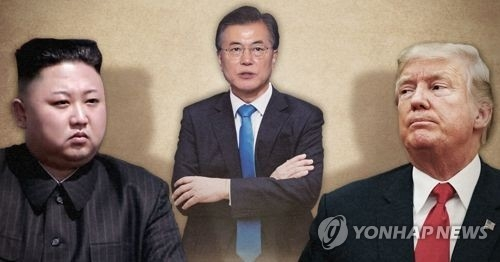 This composite image shows (from L) North Korean leader Kim Jong-un, South Korean President Moon Jae-in and U.S. President Donald Trump. (Yonhap)
