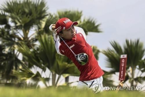 In this EPA file photo taken March 3, 2018, Ko Jin-young of South Korea tees off at the 12th hole during the third round of the HSBC Women's World Championship at New Tanjong Course in Sentosa, Singapore. (Yonhap)
