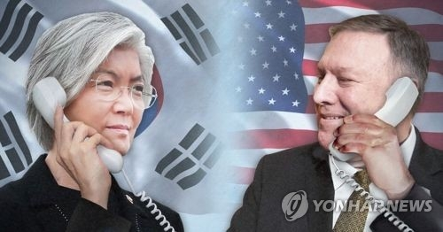 This combined photo shows South Korean Foreign Minister Kang Kyung-wha (L) and her U.S. counterpart Mike Pompeo. (Yonhap)