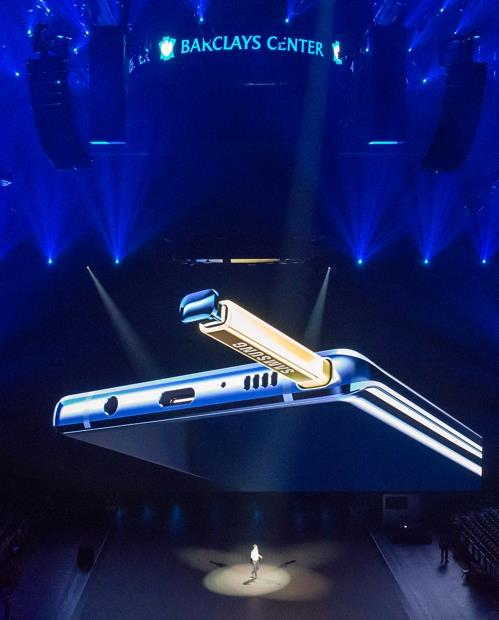 Samsung Electronics Co. showcases the Galaxy Note 9 smartphone in New York on Aug. 9, 2018 (local time) in this photo released by the company.