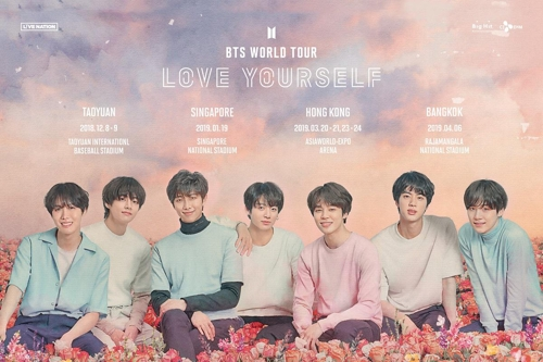 This image provided by Big Hit Entertainment is a poser for BTS' world tour. (Yonhap)