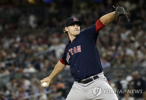 In this UPI file photo from June 29, 2018, Justin Haley, then with the Boston Red Sox, throws a pitch against the New York Yankees in the bottom of the seventh inning of a Major League Baseball regular season game at Yankee Stadium in New York. Haley will pitch for the Samsung Lions in the Korea Baseball Organization in 2019. (Yonhap)