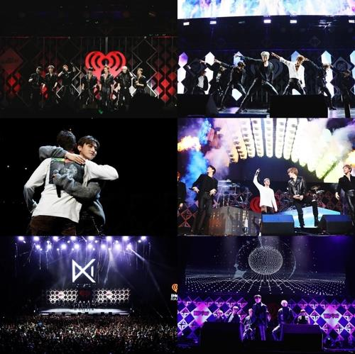 This photo compilation shows Monsta X performing during the 2018 Jingle Ball Tour in the United States. (Yonhap)