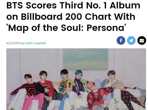 This image of the Billboard coverage on BTS' third Billboard 200 victory is captured from the Billboard website. (Yonhap)