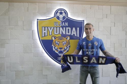 This photo provided by Ulsan Hyundai on June 25, 2019, shows the K League 1 club's new acquisition, Jason Davidson. (PHOTO NOT FOR SALE) (Yonhap)