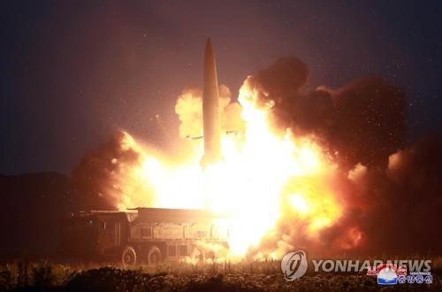 "A ""new-type tactical guided missile"" is launched on Aug. 6, 2019, in this photo released by the North's official Korean Central News Agency (KCNA) on Aug. 7. North Korean leader Kim Jong-un, who watched the firing, said this week's missile launches were an ""adequate warning"" against the joint military exercise between South Korea and the United States that kicked off earlier this week, the KCNA said. (For Use Only in the Republic of Korea. No Redistribution) (Yonhap)"