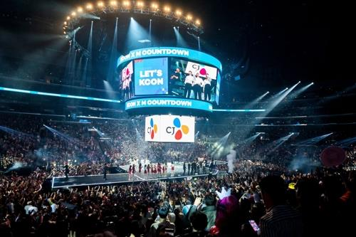 This photo, provided by CJ ENM, shows a KCON concert held at Staples Center in Los Angeles. (PHOTO NOT FOR SALE) (Yonhap)