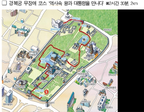 This map provided by Seoul City Hall shows a barrier-free walking tour course linking Gyeongbok Palace and Cheong Wa Dae Sarangchae in central Seoul. (PHOTO NOT FOR SALE) (Yonhap)