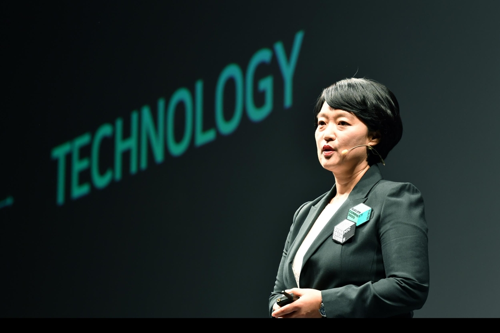 Han Seong-sook, CEO of South Korea's top portal operator, Naver Corp., speaks during an annual conference in southern Seoul on Oct. 8, 2019. (PHOTO NOT FOR SALE) (Yonhap)