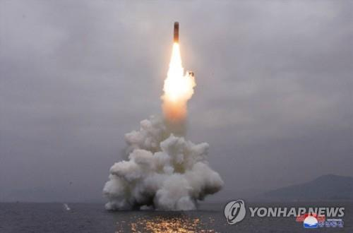 This photo released by North Korea's state media shows a missile being launched from waters off its east coast on Oct. 2, 2019. The North's Korean Central News Agency said on Oct. 3 that Pyongyang successfully test-fired a submarine-launched ballistic missile from waters off its eastern coast town of Wonsan the previous day. (For Use Only in the Republic of Korea. No Redistribution) (Yonhap)
