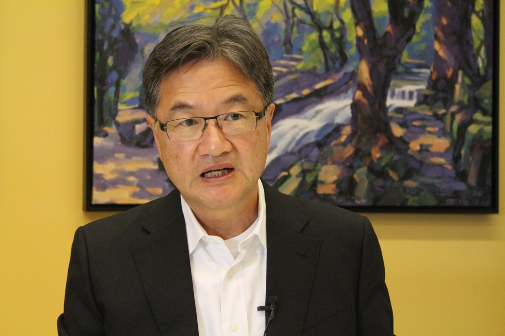 Former U.S. Special Representative for North Korea Policy Joseph Yun speaks in an interview with Yonhap News Agency at his office in Washington on Oct. 16, 2019. (Yonhap)