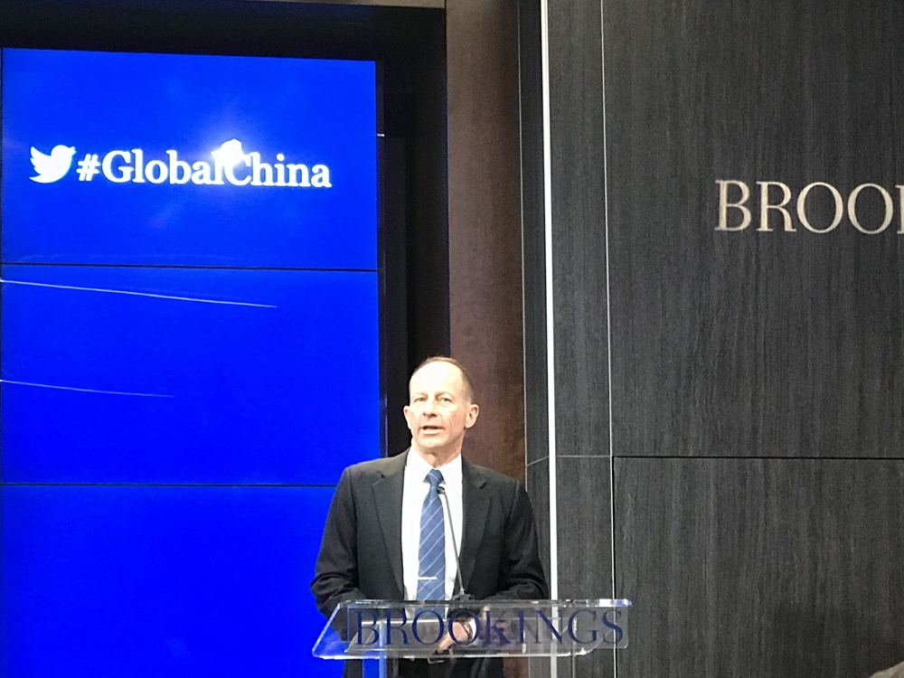 This photo shows U.S. Assistant Secretary of State for East Asian and Pacific Affairs David Stilwell delivering remarks at an event at the Brookings Institution in Washington on Dec. 2, 2019. (Yonhap)