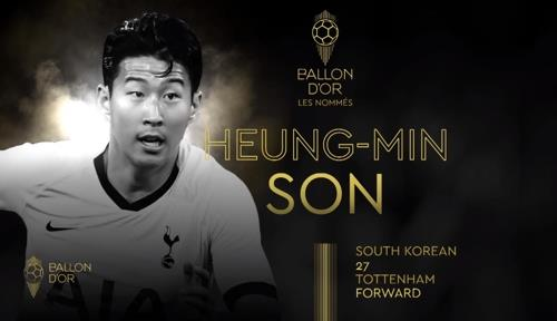This image captured from France Football magazine's website on Oct. 22, 2019, shows South Korean player Son Heung-min as one of 30 nominees for the annual Ballon d'Or Award. (PHOTO NOT FOR SALE) (Yonhap)