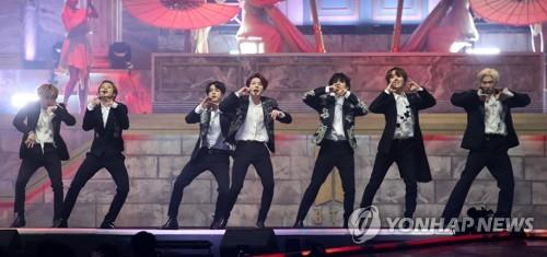 This image shows a performance by BTS. (Yonhap)