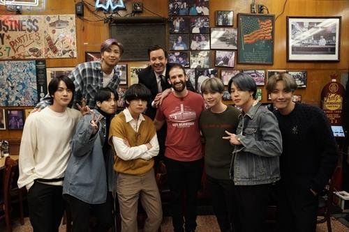 This photo of BTS is provided by Andrew Lipovsky and NBC through Big Hit Entertainment. (PHOTO NOT FOR SALE) (Yonhap)