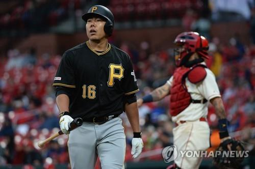 In this Getty Images file photo from May 11, 2019, Kang Jung-ho of the Pittsburgh Pirates (L) reacts after striking out against the St. Louis Cardinals in the top of the eighth inning of a Major League Baseball regular season game at Busch Stadium in St. Louis. (Yonhap)