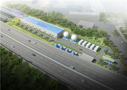 This rendering, provided by Hyundai Rotem, shows a hydrogen charging station. (PHOTO NOT FOR SALE)(Yonhap)