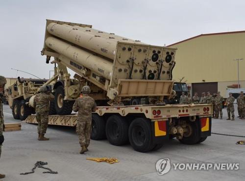 A launcher of an advanced U.S. missile defense system called THAAD is seen in this photo captured from the Facebook account of the 35th Air Defense Artillery Brigade of the U.S. Forces Korea (USFK) on April 24, 2019. The USFK said it conducted a THAAD exercise at a base in Pyeongtaek, south of Seoul, last week. (PHOTO NOT FOR SALE) (Yonhap)