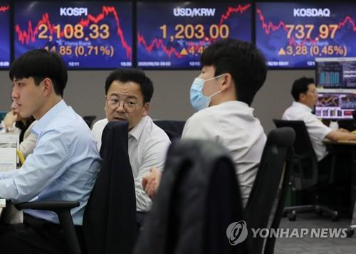 Electronic signboards at a Hana Bank dealing room in Seoul show the benchmark Korea Composite Stock Price Index (KOSPI) closed at 2,108.33 on June 30, 2020, up 14.85 points, or 0.71 percent, from the previous session's close. (Yonhap)