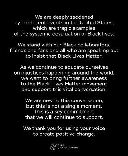 A statement from K-pop company SM Entertainment on June 19, 2020, on its support for the Black Lives Matter movement in the United States. The statement was shared on the company's @SMTOWNGLOBAL Twitter account. (PHOTO NOT FOR SALE) (Yonhap)