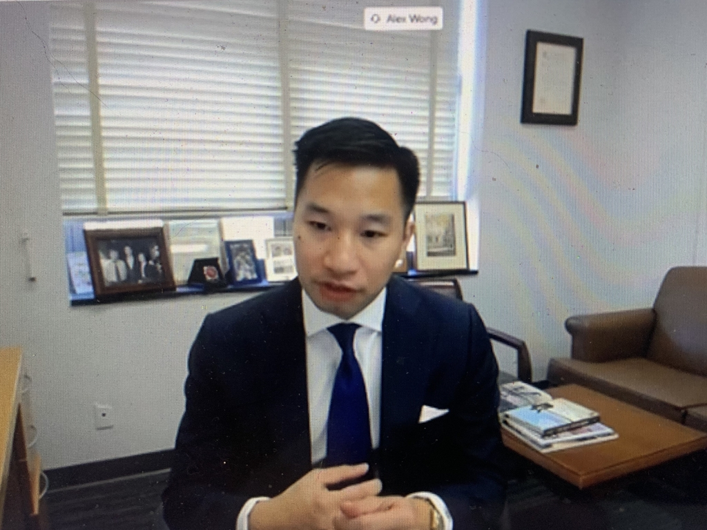 This screenshot shows U.S. Deputy Special Representative for North Korea Alex Wong speaking in a virtual confirmation hearing on his nomination as U.S. alternate representative for special political affairs in the United Nations, on Aug. 5, 2020. (Yonhap)