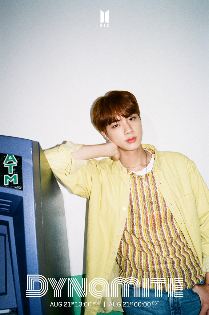 "A teaser image for K-pop group BTS' upcoming single album ""Dynamite,"" featuring member Jin. Photo provided by Big Hit Entertainment on Aug. 11, 2020. (PHOTO NOT FOR SALE) (Yonhap)"
