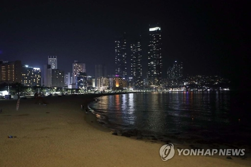 This photo shows a quiet Haeundae Beach in Busan, the southern port city, on Aug. 21, 2020. (Yonhap)