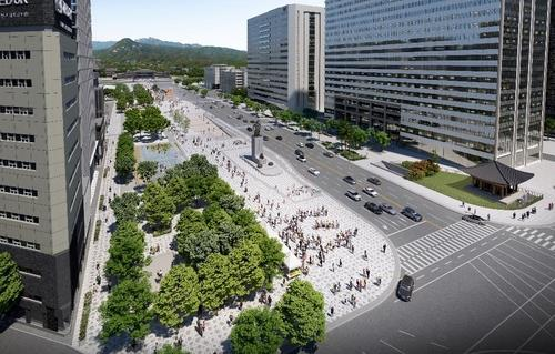 An image of the redesigned Gwanghwamun Square provided by the Seoul metropolitan government. (PHOTO NOT FOR SALE) (Yonhap)