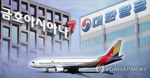 The image shows an Asiana Airlines passenger jet against the background of the Kumho Asiana Group and Korean Air headquarters. (Yonhap)