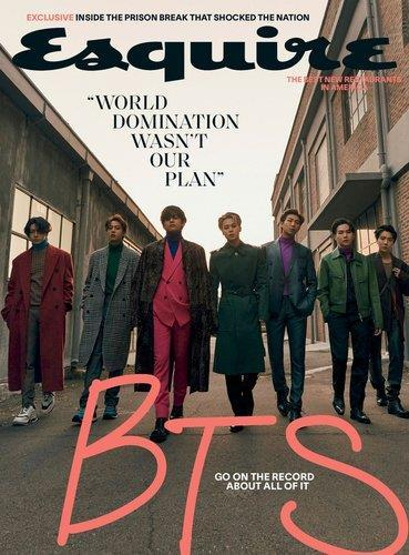 This photo, provided by Big Hit Entertainment, shows BTS featured on the cover of the Winter 2020/21 edition of U.S. magazine Esquire. (PHOTO NOT FOR SALE) (Yonhap)