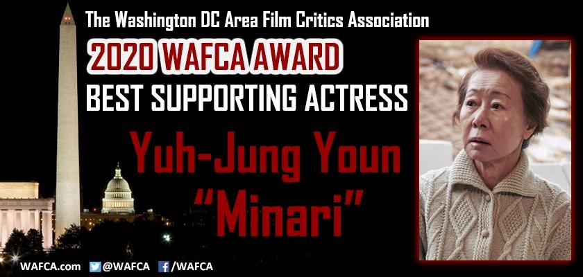 "This image captured from the Twitter account of the Washington, D.C. Area Film Association (WAFCA) shows Youn Yuh-jung of ""Minari"" winning best supporting actress at the 2020 WAFCA Award on Feb. 8, 2021. (PHOTO NOT FOR SALE) (Yonhap)"