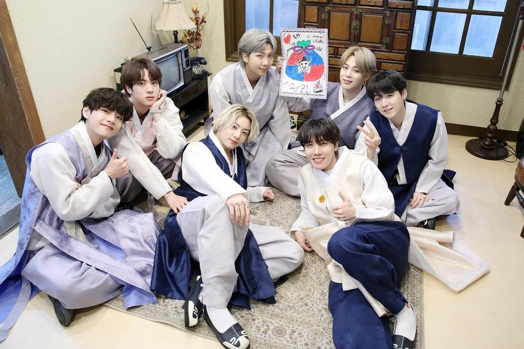 This photo, provided by Big Hit Entertainment on Feb. 11, 2021, shows BTS wearing hanbok in line with the Lunar New Year holiday here. (PHOTO NOT FOR SALE) (Yonhap)