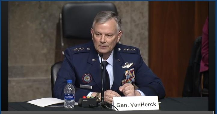 The captured image from the website of U.S. Senate Committee on Armed Services shows Gen. Glen VanHerck, commander of U.S. Northern Command and North American Aerospace Defense Command, testifying at a Senate hearing in Washington on March 16, 2021. (PHOTO NOT FOR SALE) (Yonhap)