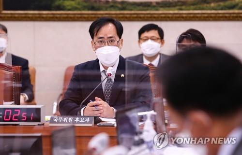 Oceans Minister nominee Park Jun-young responds to a lawmaker's question during a confirmation hearing at the National Assembly in Seoul on May 4, 2021. (Yonhap)