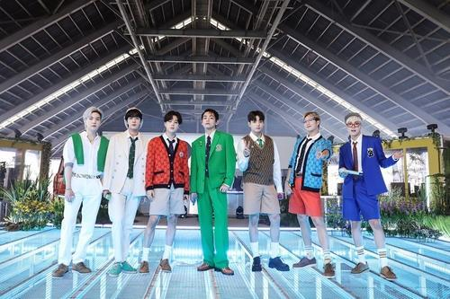 This photo provided by Big Hit Music shows K-pop superstar BTS. (PHOTO NOT FOR SALE) (Yonhap)