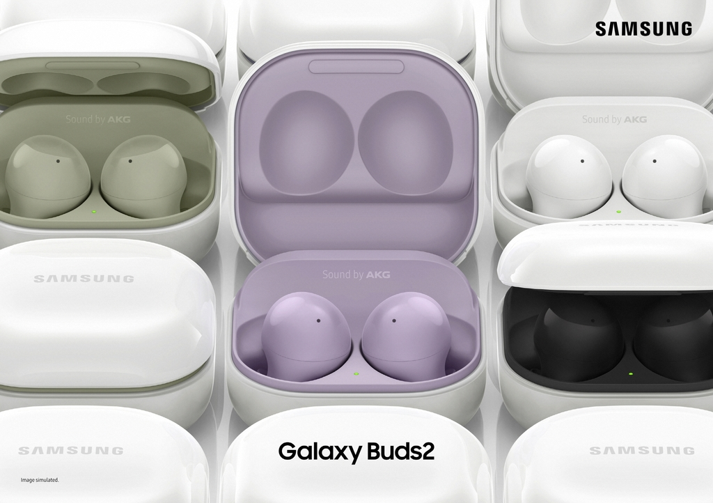 This photo provided by Samsung Electronics Co. on Aug. 11, 2021, shows the Galaxy Buds2 wireless earbuds. (PHOTO NOT FOR SALE) (Yonhap)