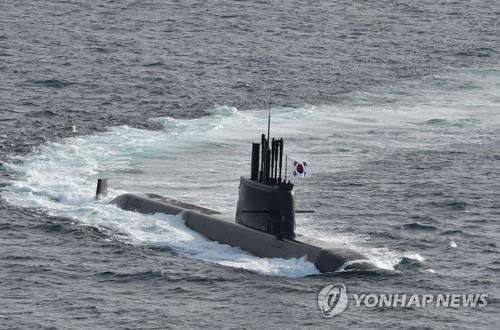 This file photo, provided by the Navy on Aug. 13, 2021, shows its first 3,000-ton class homegrown submarine capable of firing submarine-launched ballistic missiles, named Dosan Ahn Chang-ho. (PHOTO NOT FOR SALE) (Yonhap)