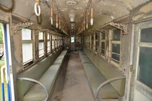충북 진천군에 보관된 옛 수인선 열차 내부
